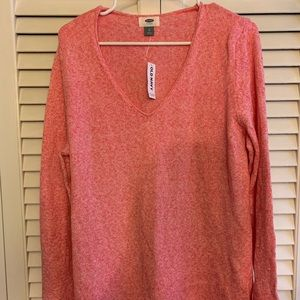 Old Navy Pink White Marbled VNeck Sweater XL NWT